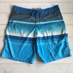 Billabong Blue Stripe Board Shorts Sz 36